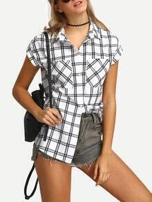 White Black Button-down Checked Lapel Blouse