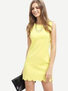 Yellow Crew Neck Scallapped Hem Dress