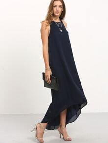Navy Crew Neck Sleeveless Asymmectric Maxi Dress