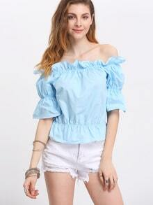 Sky Blue Ruffle Off The Shoulder Bell Sleeve Elasicized Blouse