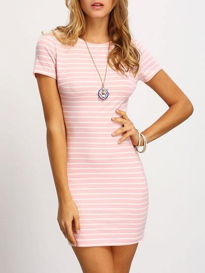 Crew Neck Striped Sheath Dress