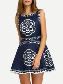 Blue Crew Neck Tribal Print Flare Dress