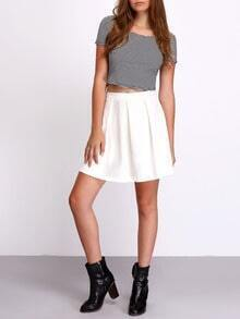 White High Waist Pleated Mini Skirt