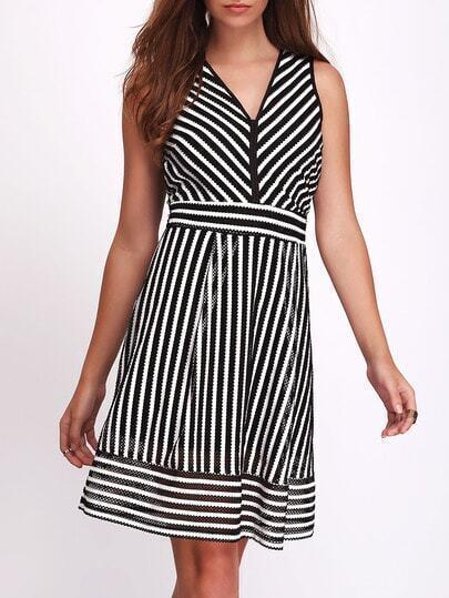 Black V-neck Striped Exposed Zipper Back Dress