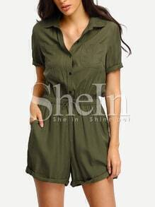 Army Green Rolled-up Tie Waist Jumpsuit