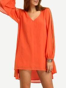 Orane V-neck Slit Sleeve Hih Low Dress