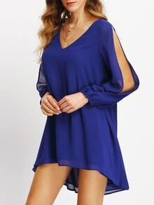 Blue V-neck Slit Sleeve Asymmectric Dress