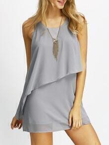 Silver Tank Neck Layed Chiffon Dress