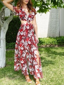 Red V-neck Twist Front Floral Print Split Maxi Dress
