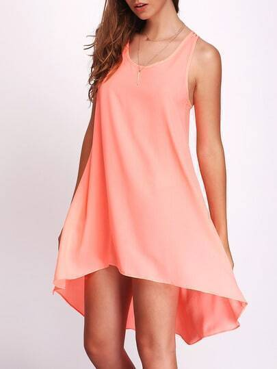 Fluorescent Orane Round Neck Backless Asymmetric Dress