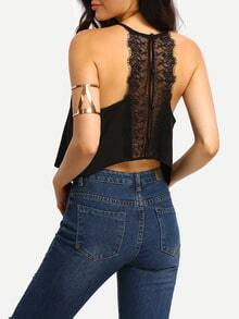 Black Eyelash Trim Button Down Crop Top