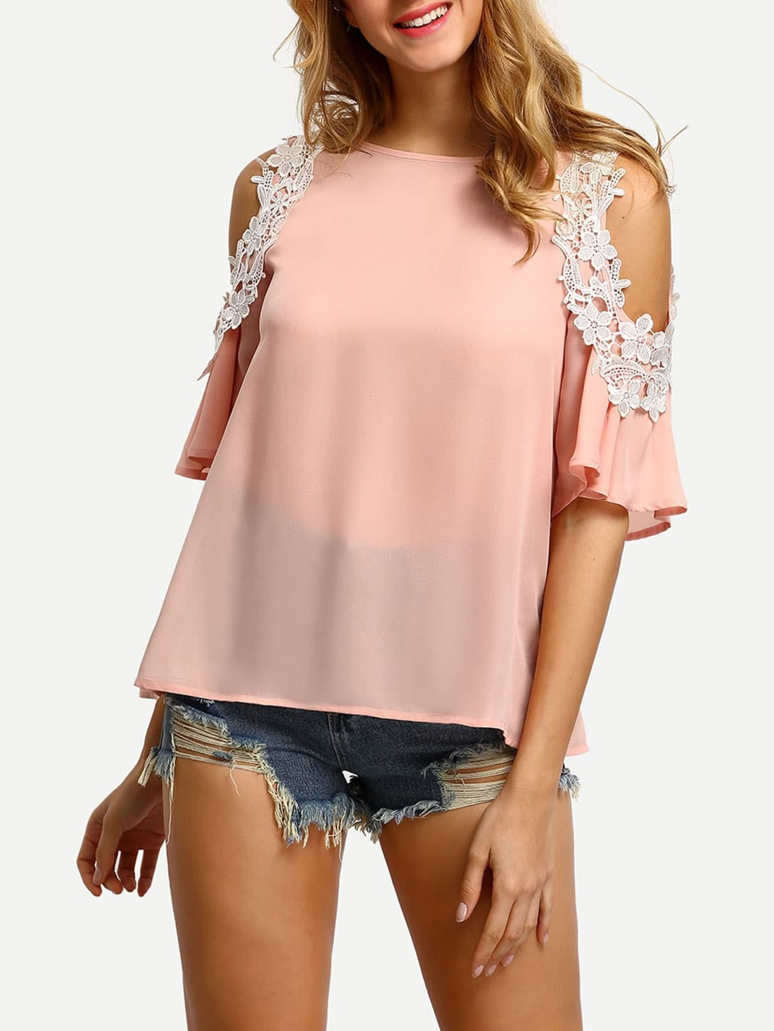 Pink Cold Shoulder Crochet Trim BlousePink Cold Shoulder Crochet Trim Blouse<br><br>color: Pink<br>size: L,M,S,XS