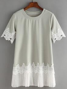 Lace And Pleated Chiffon Trimmed T-shirt Dress
