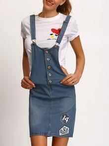 Badge Print Buttoned Overall Denim Dress