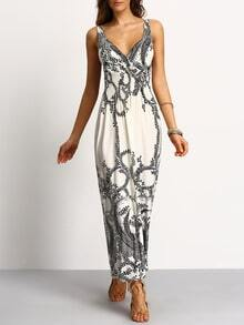 Deep-V Paisley Print Smocked Waist Maxi Dress