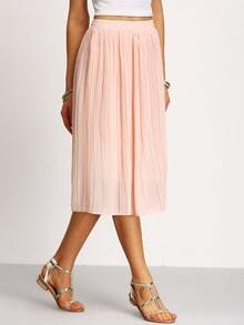 Pleated Elastic Waist Chiffon Skirt