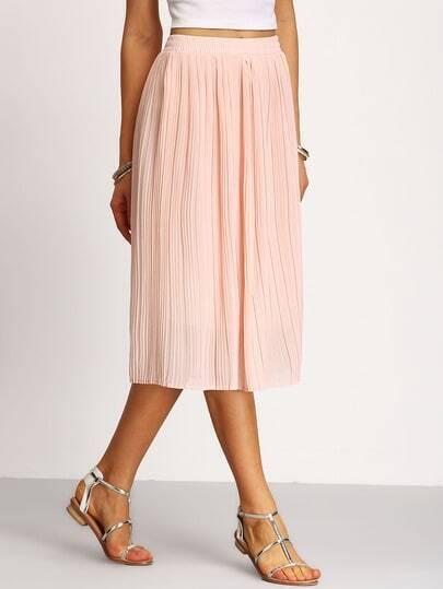 Pleated Elastic Waist Chiffon Skirt