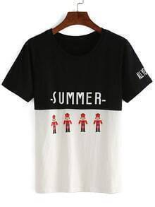 Contrast Toy Soldiers Print T-shirt
