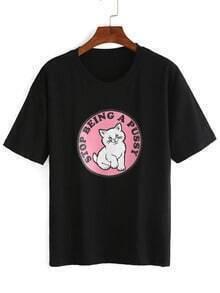 Lovely Kitty Print Black T-shirt