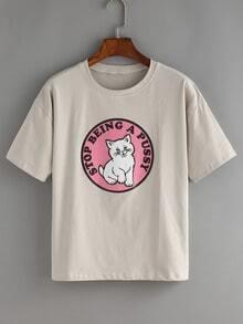 Lovely Kitty Print Grey T-shirt
