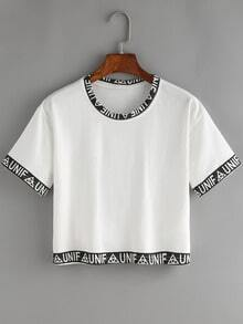 Printed Contrast Trim Crop Top
