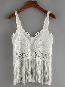 Tassel Trimmed Crochet Tank Top