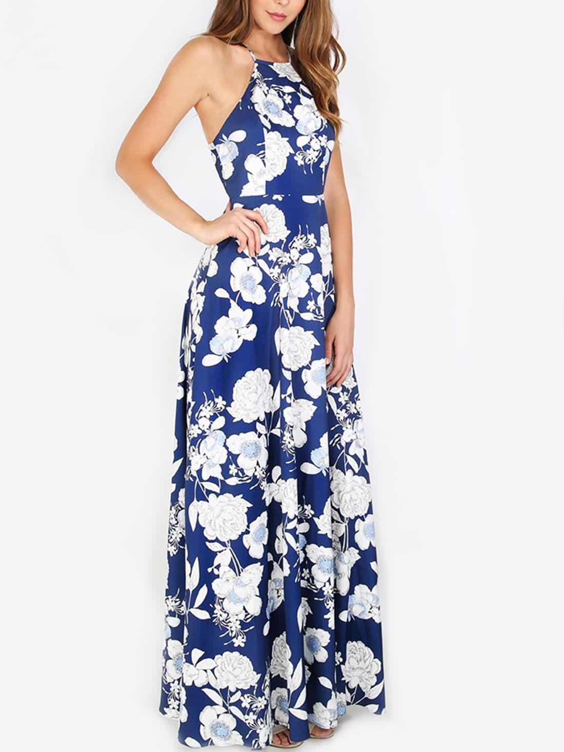 Halterneck Floral Print Maxi Dress -SheIn(Sheinside)