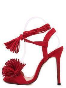 Red Faux Suede Tassel Ankle Tied Sandals