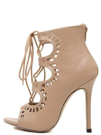 Peep Toe Laser Cut Lace-up Sandals