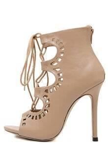 Peep Toe Laser Cut Lace-up Sandals