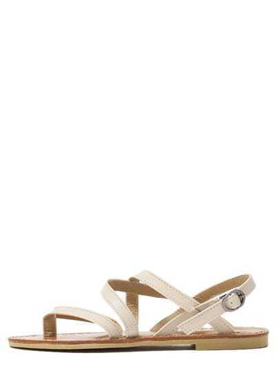 Crisscross Buckled Ankle Strap White Flat Sandals