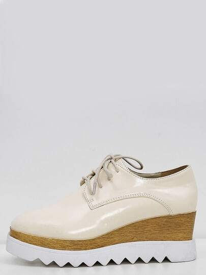 Lace-up Apricot Flatform Oxfords