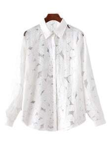 White Long Sleeve Solid Hollow Flower Blouse