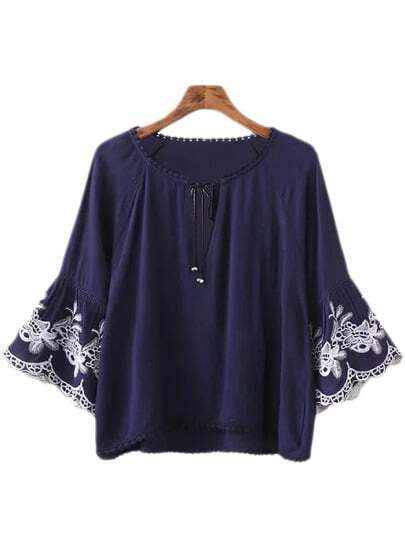 Navy Embroidery Bell Sleeve Lace Up Blouse