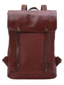 Front Flap Snap Button Closure Brown Backpack