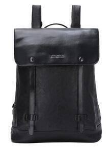 Front Flap Snap Button Closure Black Backpack