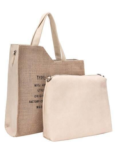 Assymatrical Cut Starw Tote Bag Set