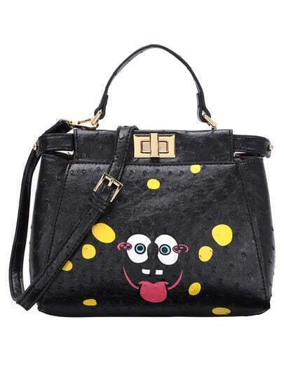 Faux Ostrich Leather Printed Turnlock Black Handle Bag
