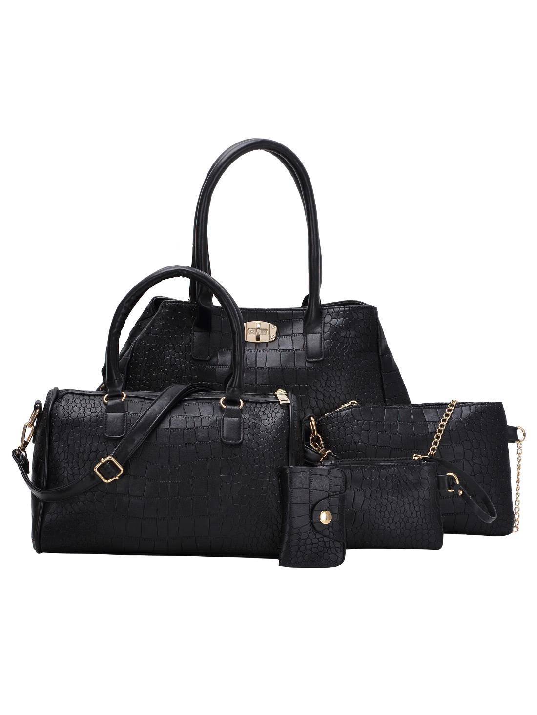 все цены на 5pcs Faux Crocodile Embossed Leather Bag Set онлайн