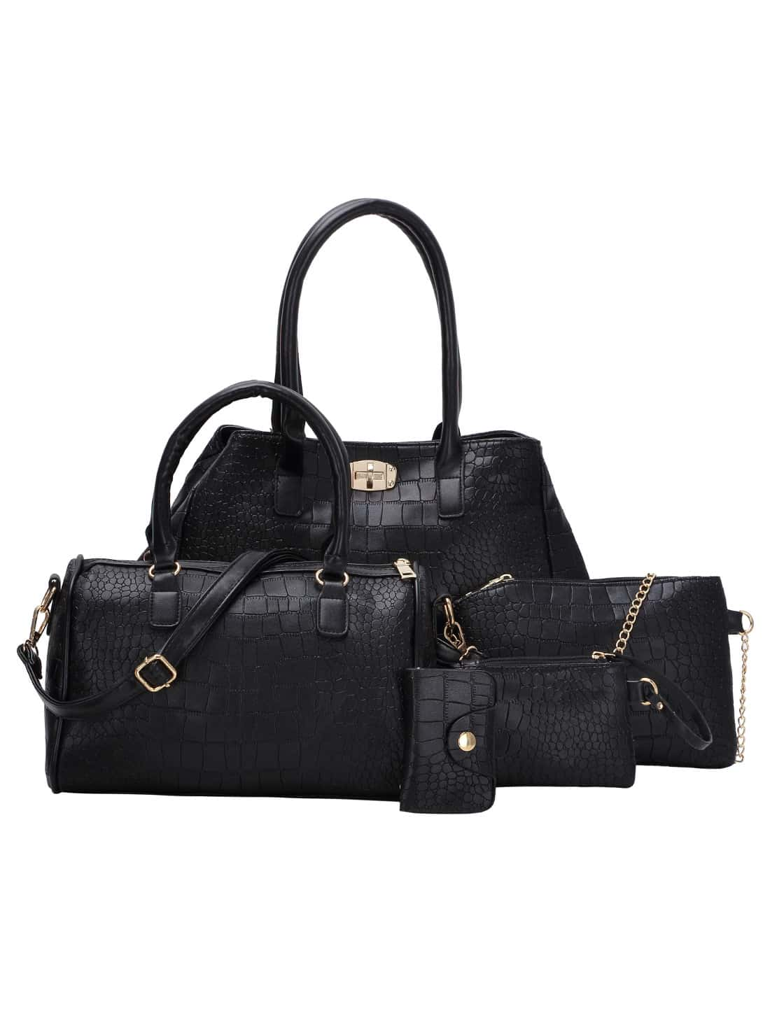 5pcs Faux Crocodile Embossed Leather Bag Set