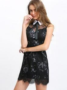 Tie Collar Lace A-Line Dress
