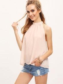 Pink Stand Collar Chiffon Tank Top