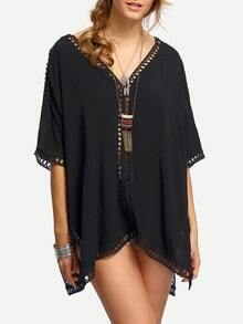 Black V Neck Elbow Sleeve Hollow Out Shirt
