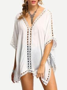 White V Neck Elbow Sleeve Hollow Out Shirt