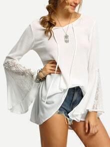 Bell Sleeve Lace Insert Shirt