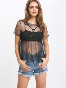 Black Sheer Mesh Pleated Shirt