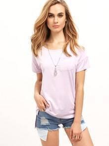 Purple Short Sleeve Pocket Loose T-Shirt