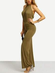 Army Green Halter Backless Jumpsuit
