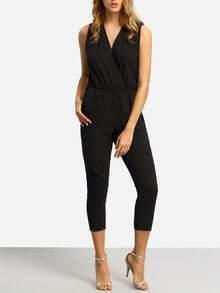 Black V Neck Sleeveless Slim Jumpsuit