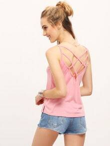 Crisscross Back Pink Cami Top
